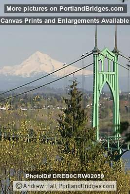 Mt. Hood and St. Johns Bridge, Daytime (Portland, Oregon)