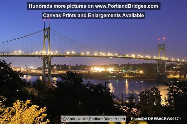 St. Johns Bridge, Lights, Night (Portland, Oregon)