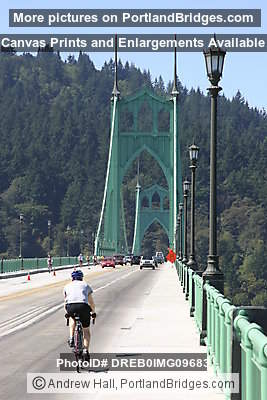 St. Johns Bridge with cyclist (during Bridge Pedal 2005) (Portland, Oregon)