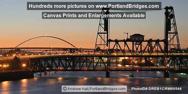Steel Bridge, Fremont Bridge, Dusk