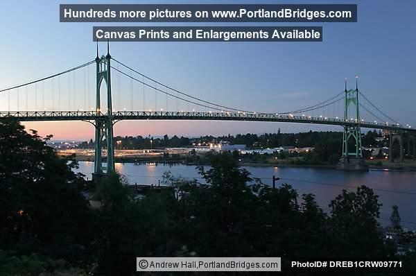 St. Johns Bridge, Side View, Lights, Dusk (Portland, Oregon)