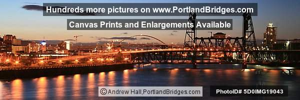Steel Bridge, Panoramic, Dusk (Portland, Oregon)