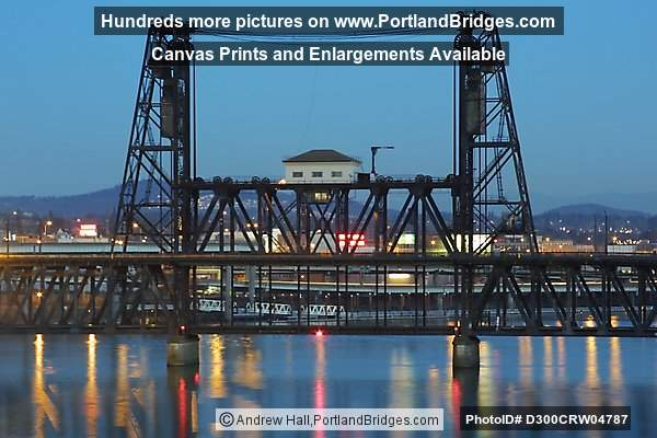 Steel Bridge and Willamette River, Dusk (Portland, Oregon)