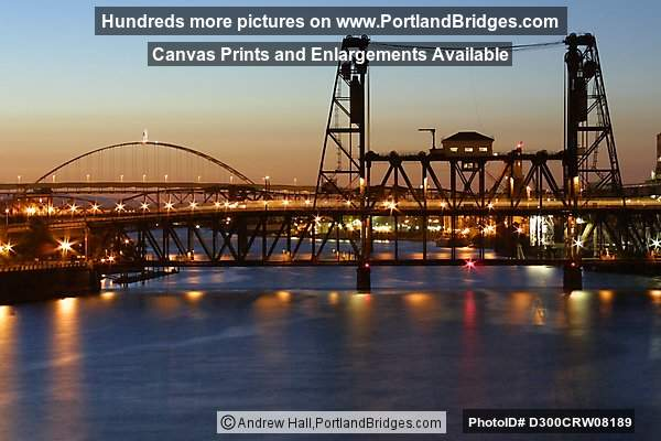 Steel Bridge and Fremont Bridge, Dusk, Willamette River (Portland, Oregon)