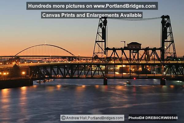 Willamette River, Steel Bridge, Dusk