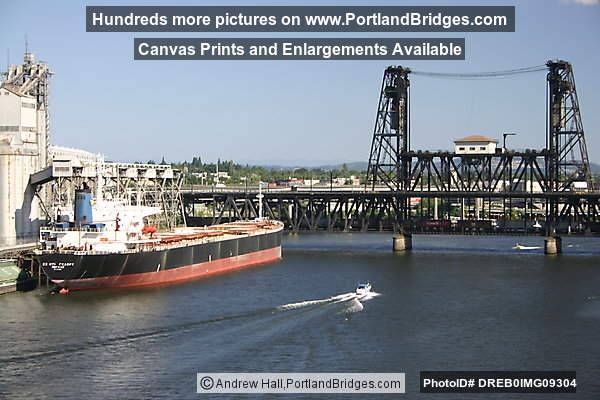 Grain Ship, Willamette River, Steel Bridge (Portland, Oregon)