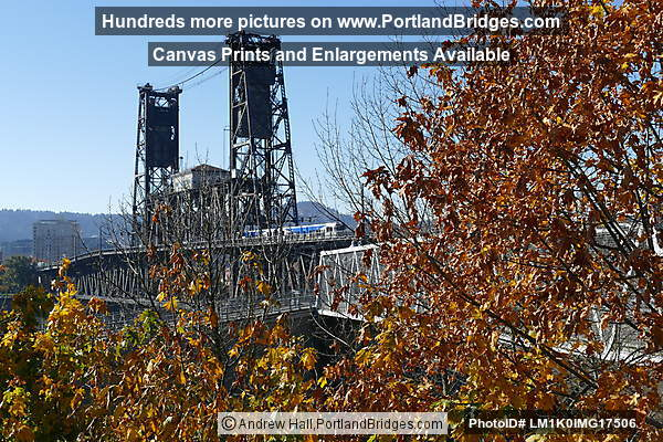 Steel Bridge, Fall Leaves, from Eastbank Esplanade (Portland, Oregon)