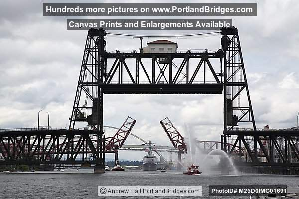 Steel Bridge, Broadway Bridge Raised, USS William P. Lawrence (Portland, Oregon)