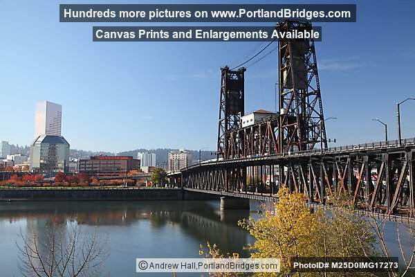 Steel Bridge, US Bancorp Tower, Fall Leaves, Portland