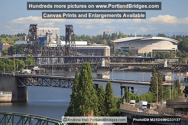 Steel Bridge, Moda Center, viewed from Marquam Bridge (Portland, Oregon)