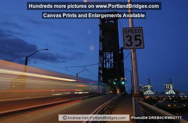 Steel Bridge, MAX Train Long Exposure, 35mph, Dusk (Portland, Oregon)