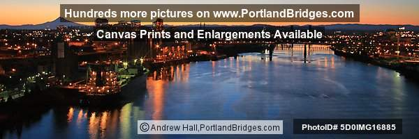 Willamette River Daybreak, Grain Ships, from Fremont Bridge (Portland, Oregon)