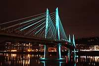 Portland's Tilikum Crossing Bridge at Night