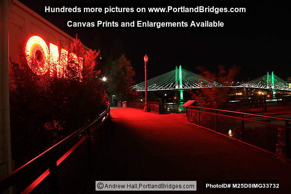 OMSI, Tilikum Crossing Lit Up At Night (Portland, Oregon)