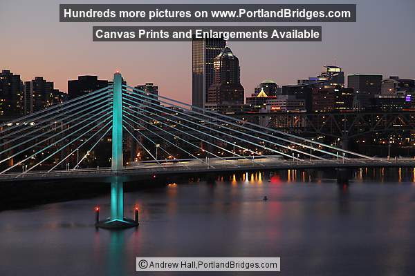 Tilikum Crossing Bridge, Portland Buildings, Dusk