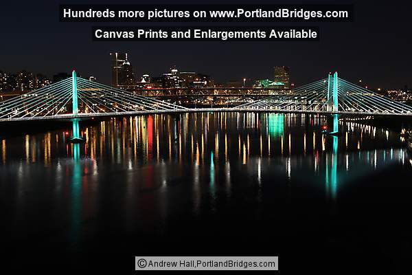 Tilikum Crossing Bridge, from Ross Island Bridge, Night (Portland, Oregon)