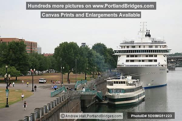 The World Cruise Ship, Docked, with Portland Spirit, Portland, Oregon, June 2009