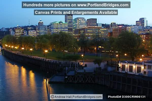 Portland Waterfront, Dusk, from Burnside Bridge