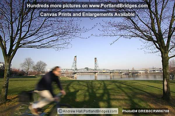 Hawthorne Bridge, Bicyclist, Tom McCall Waterfront Park, Daytime (Portland, Oregon)