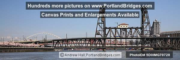 Steel Bridge, MAX Train, Amtrak Train (Portland, Oregon)