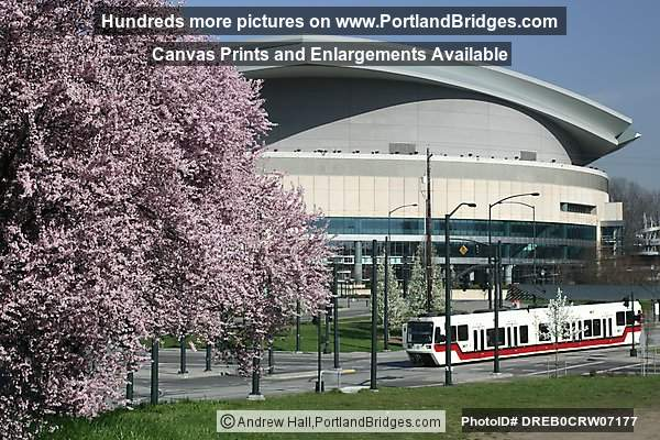 Rose Garden Arena, MAX Train, Spring Blossoms, Daytime (Portland, Oregon)