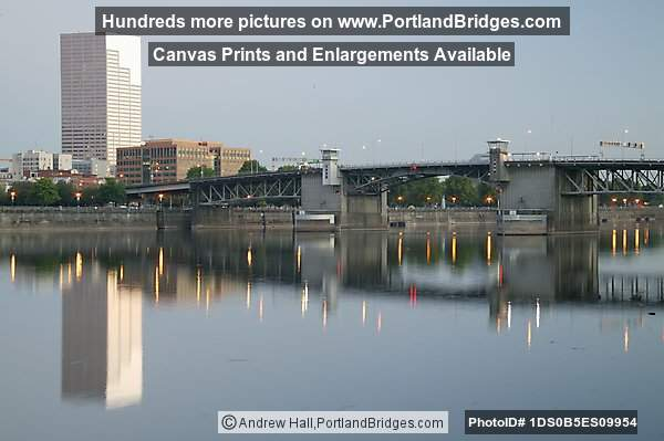 Willamette River reflections, Morrison Bridge, US Bancorp Tower, Morning (Portland, Oregon)