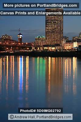 Willamette River, Building Reflections, Dusk