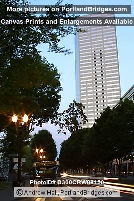US Bancorp Tower with car light steaks (Portland, Oregon)