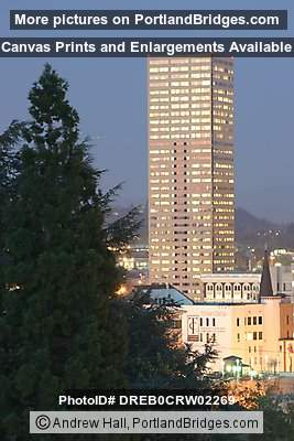 US Bancorp Tower, Tree, Dusk (Portland, Oregon)
