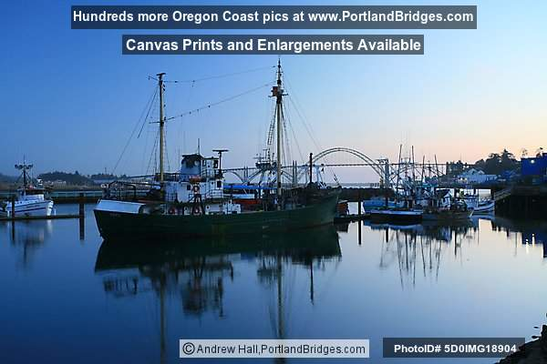 Newport Bayfront Reflections, Yaquina Bay Bridge, Newport, Oregon